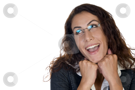 Smiling lady with chin over hands stock photo, Smiling lady with chin over hands  on an isolated background by Imagery Majestic