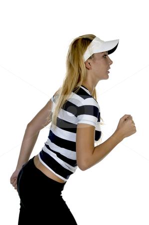 Side pose of athletic female stock photo, Side pose of athletic female with white background by Imagery Majestic