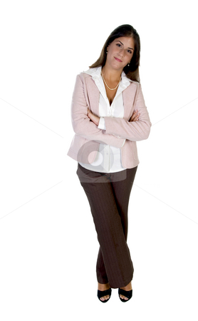 Lady with folded legs and hands stock photo, Lady with folded legs and hands isolated with white background by Imagery Majestic