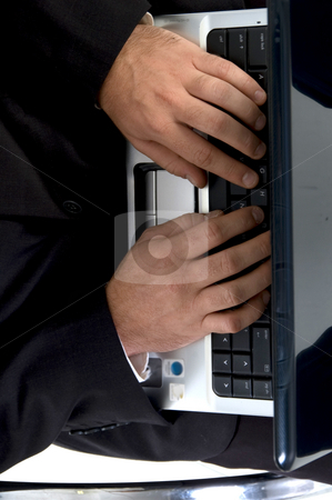 Man hands busy with laptop stock photo, Man hands busy with laptop against white background by Imagery Majestic