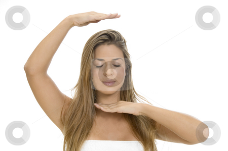 Woman doing yoga stock photo, Woman doing yoga on an isolated white background by Imagery Majestic