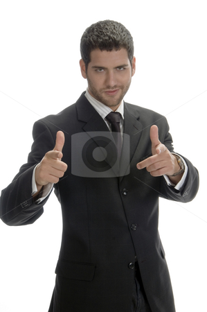 Businessman showing hand gesture stock photo, Businessman showing hand gesture with white background by Imagery Majestic