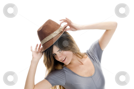 Smart female wearing hat stock photo, Smart female wearing hat on an isolated background by Imagery Majestic