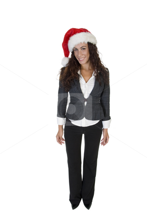 Lady standing in cap stock photo, Lady standing in cap against white background by Imagery Majestic