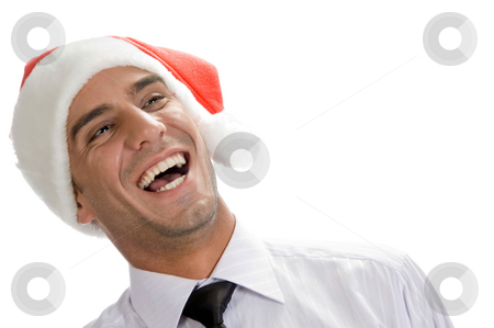 Businessman burst into laughter stock photo, Businessman burst into laughter against white background by Imagery Majestic