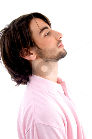 Side view of young male stock photo, Side view of young male with white background by Imagery Majestic
