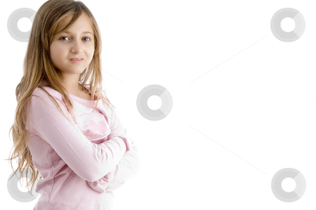 Little girl with folded hands stock photo, Little girl with folded hands on an isolated white background by Imagery Majestic