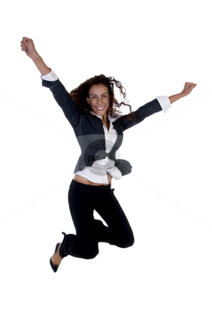 Businesswoman jumping stock photo, Businesswoman jumping against white background by Imagery Majestic
