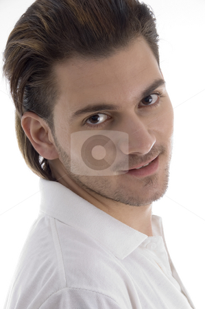 Close up of smart guy stock photo, Close up of smart guy with white background by Imagery Majestic