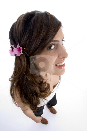 Glamorous woman with beautiful flower in hair stock photo, Glamorous woman with beautiful flower in hair on an isolated background by Imagery Majestic