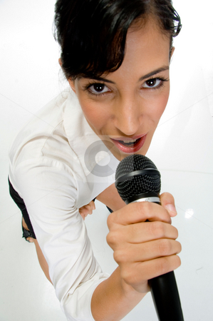Female singer performing stock photo, Ariel view of female singer performing on an isolated white background by Imagery Majestic