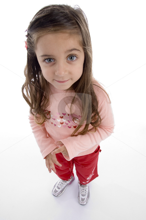 Standing cute little girl stock photo, Standing cute little girl against white background by Imagery Majestic