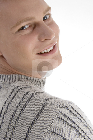 Close up of handsome man stock photo, Close up of handsome man against white background by Imagery Majestic