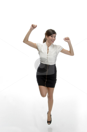 Dancing young lady stock photo, Dancing young lady with white background by Imagery Majestic