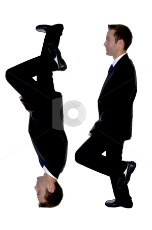 Side view of double businessman stock photo, Side view of double businessman on an isolated white background by Imagery Majestic