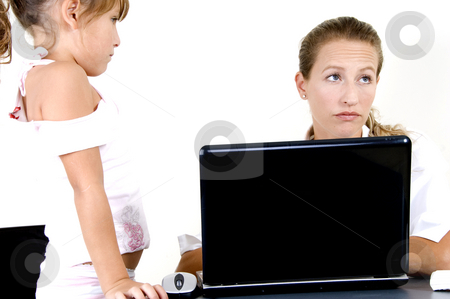 Mother and daughter with laptop stock photo, Portrait of mother and daughter with laptop by Imagery Majestic