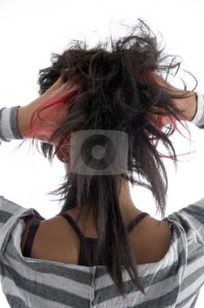 Girl showing her hair stock photo, Girl showing her hair on an isolated background by Imagery Majestic