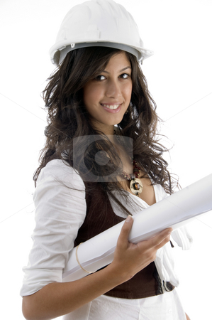 Young female architect holding blueprints stock photo, Young female architect holding blueprints isolated on white background by Imagery Majestic