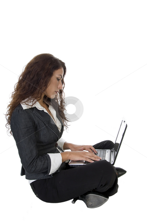 Woman having laptop stock photo, Woman having laptop  on isolated studio picture by Imagery Majestic