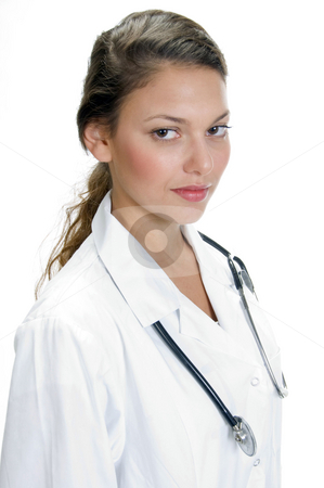 Portrait of young medical professional with stethoscope  stock photo, Portrait of young medical professional with stethoscope on an isolated white background by Imagery Majestic