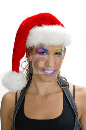Female in christmas cap stock photo, Portrait of female in christmas cap by Imagery Majestic