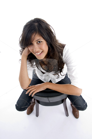 Female  looking at camera stock photo, Female  looking at camera on an isolated white background by Imagery Majestic