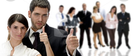 Business couple with hand gesture stock photo, Portrait of business couple with hand gesture by Imagery Majestic