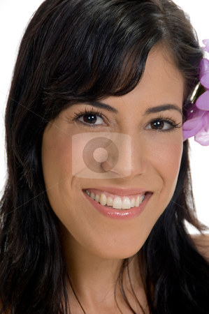 Close up of smiling woman stock photo, Close up of smiling woman with white background by Imagery Majestic