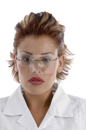 Portrait of doctor with eyeglasses stock photo, Portrait of doctor with eyeglasses on an isolated background by Imagery Majestic