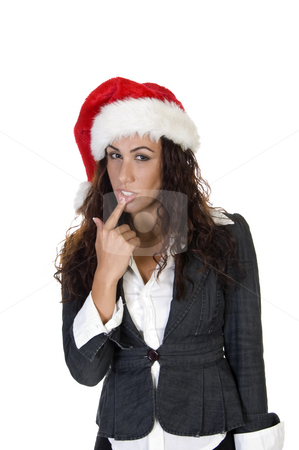Lady touching her lips stock photo, Lady touching her lips on an isolated background by Imagery Majestic