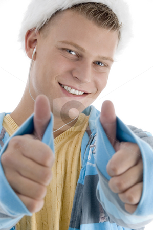 Pleased man wishing goodluck stock photo, Pleased man wishing goodluck on an isolated white background by Imagery Majestic