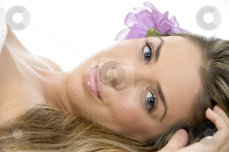 Laying blonde model looking you stock photo, Laying blonde model looking you by Imagery Majestic