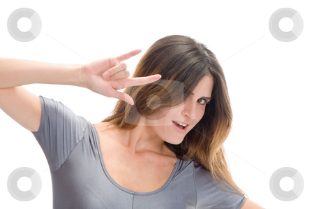 Lady showing hand gesture stock photo, Lady showing hand gesture with white background by Imagery Majestic