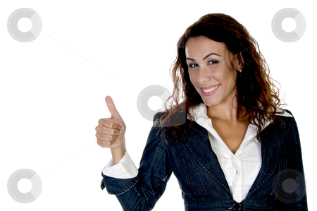 Woman showing thumb stock photo, Woman showing thumb on an isolated background by Imagery Majestic
