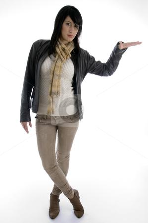 Posing stylish lady stock photo, Posing stylish lady with white background by Imagery Majestic