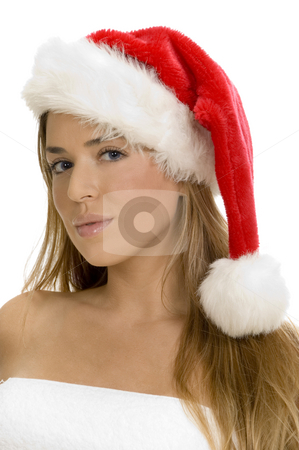Posing sexy lady with santa cap stock photo, Posing sexy lady with santa cap by Imagery Majestic