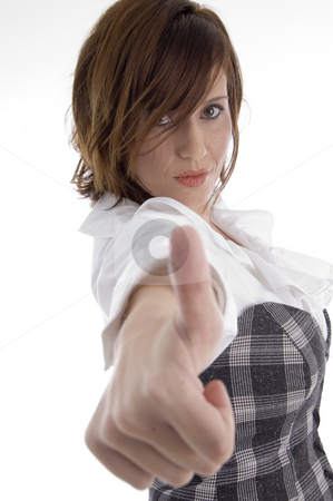 Woman showing approval sign stock photo, Woman showing approval sign on an isolated white background by Imagery Majestic