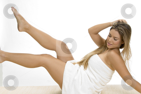 Sexy woman in towel stock photo, Sexy woman in towel against white background by Imagery Majestic