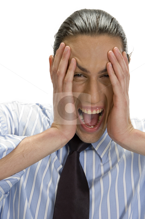 Happy man holding his face with hands stock photo, Close up view of happy man holding his face with hands by Imagery Majestic