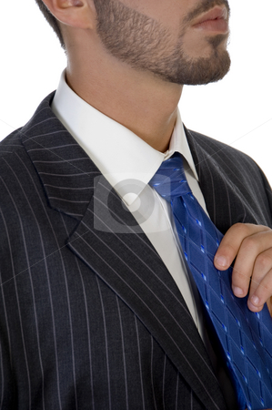 Executive holding his tie stock photo, Executive holding his tie on an isolated white  background by Imagery Majestic