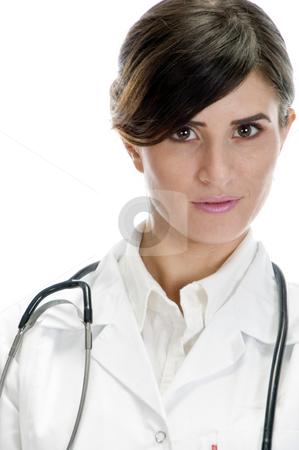 Portrait of beautiful doctor stock photo, Portrait of beautiful doctor with white background by Imagery Majestic