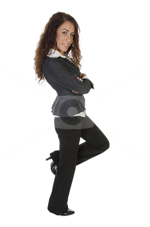 Stylish pose of young lady stock photo, Stylish pose of young lady on an isolated white  background by Imagery Majestic