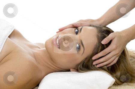 Portrait of model getting head massage stock photo, Portrait of model getting head massage by Imagery Majestic