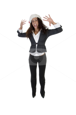 Cheerful female stock photo, Cheerful female with white background by Imagery Majestic