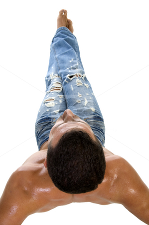 Man working out stock photo, Man working out on an isolated white background by Imagery Majestic
