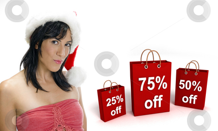 Three dimensional shopping bags and sexy woman with santa hat  stock photo, Three dimensional shopping bags and sexy woman with santa hat on an isolated white background by Imagery Majestic