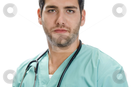 Young handsome doctor stock photo, Young handsome doctor on an isolated background by Imagery Majestic