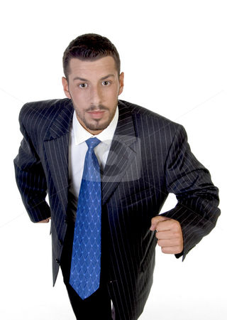 Running young man stock photo, Running young man against white background by Imagery Majestic