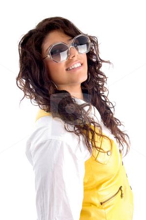 Woman posing with eyeglasses stock photo, Woman posing with eyeglasses with white background by Imagery Majestic