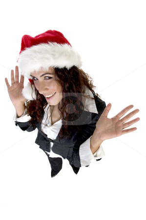 Lady waving hands stock photo, Lady waving hands and looking upward on an isolated background by Imagery Majestic